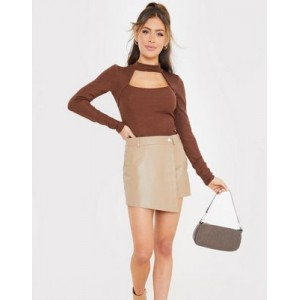 In The Style x Saffron Barker leather look skort in tan Target for Women The Most Popular WHWB124