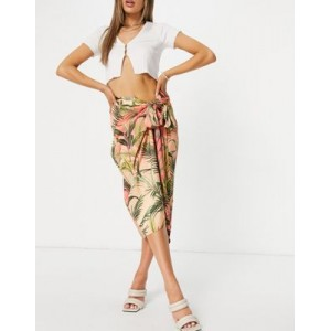 Never Fully Dressed wrap tie midi skirt in coral tropic print - part of a set for Women EVGY311