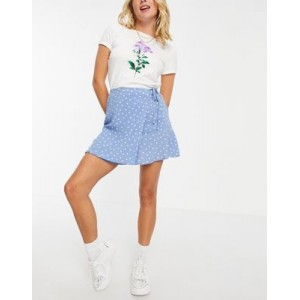 Pull&Bear wrap skirt with frill in blue polka dot Quality for Women shop online TSHI281