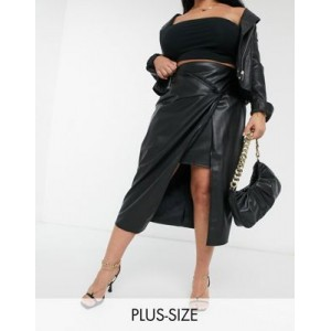 River Island Plus faux leather twist wrap midi skirt in black for Young Women shopping WCXC281