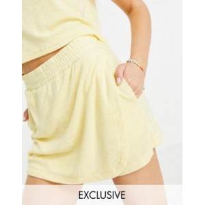Stradivarius towelling mini skort set in yellow for Young Women Or Sale Near Me BWTB565