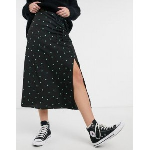 Wednesday's Girl coordinating midaxi skirt with front slit in scattered polka dots Etsy ZHAG240
