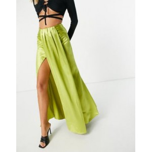 Yaura drape front coordinating midaxi skirt in lime green Casual online shopping XDMC968