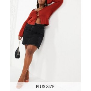 Yours Exclusive distressed denim mini skirt in washed black For Summer for Women's new in XOIB197