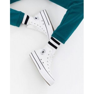 Converse Chuck Taylor All Star Hi canvas platform sneakers in white for Women Discount BKLX334