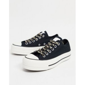 Converse Chuck Taylor All Star Lift Ox Archive Leopard print sneakers in black Carnival AGJW797