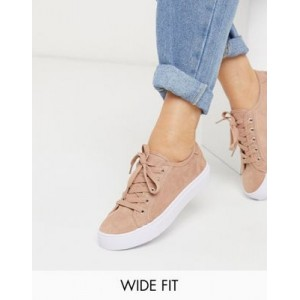 DESIGN Wide Fit Dizzy lace up sneakers in warm beige Extra Wide on style KPEE899