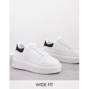 DESIGN Wide Fit Dorina chunky sole sneakers in white New Season YXZC790
