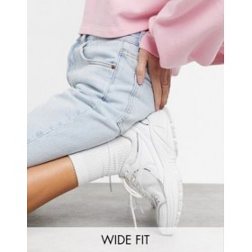 DESIGN Wide Fit Dorri sneakers with mesh in white Size 12 DYUV867
