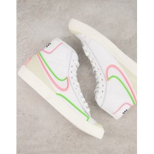 Nike Blazer Mid Infinite leather sneakers in white/electric green Lifestyle for Women Lowest Price NCVR912