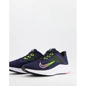 Nike Running Quest 3 sneakers in blue In Wide Width for Young Women lifestyle YHYY392