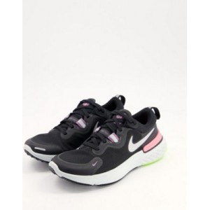 Nike Running React Miler sneakers in black and pink online shopping CZPD288