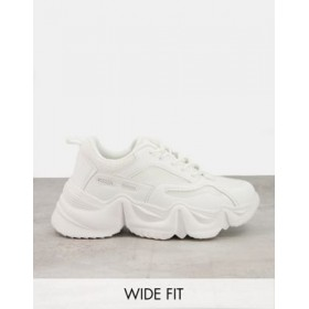 Public Desire Wide Fit chunky sneakers in white for Women's e fashion PUTW578