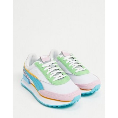 Puma Future Rider sneakers in pink and blue On Sale PXZM351