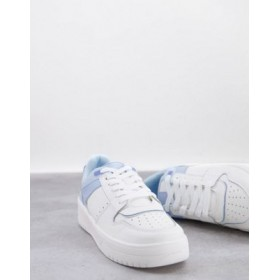 Stradivarius retro sports sneakers in blue and white for Women's business casual GDGB715
