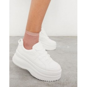 Topshop lace up flatform sneakers in white sale online VQKU426