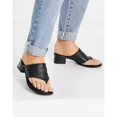 ASRA Jammie toe post sandals in black leather for Women Express FRNZ659