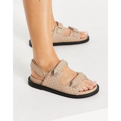 ASRA Sojo quilted chunky grandad sandals in beige leather for Women WCFK194