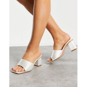 Be Mine Bridal Pia heeled mules in ivory satin Size 11 Wide for Young Women YHMF579