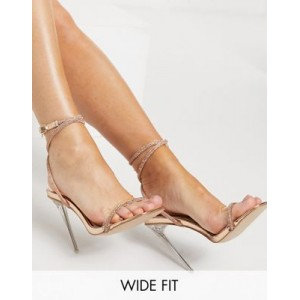 Be Mine Bridal Wide Fit Emberly clear heeled sandal with diamante detail for Women Or Sale Near Me KAQX171
