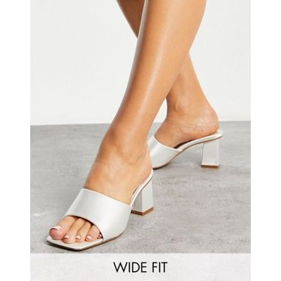 Be Mine Bridal Wide Fit Pia heeled mules in ivory satin outlet WTDH304
