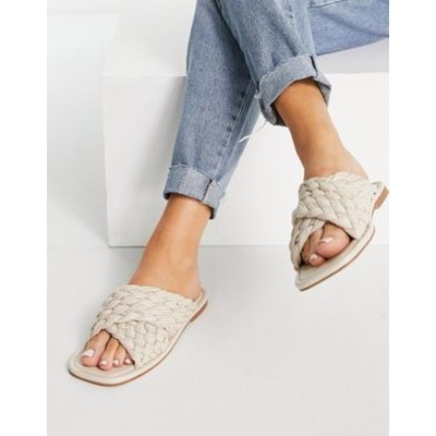 DESIGN Flashback thick woven mule sandals in off-white on clearance HOEL997
