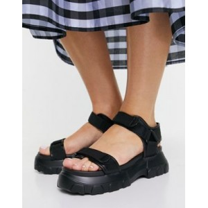 DESIGN Fly By chunky sporty sandals in black for Young Women Designer ZEIM737