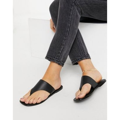 DESIGN Folly leather toe thong sandals in black Size 8 Wide On Line BBNZ587