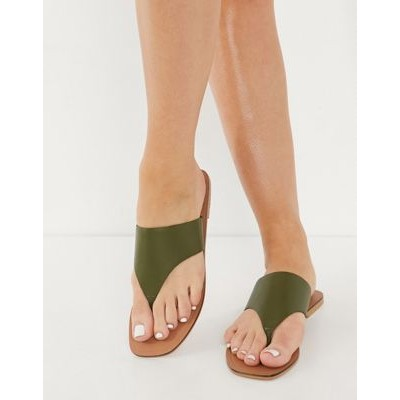 DESIGN Folly leather toe thong sandals in khaki for Young Women CVMQ744