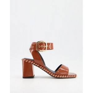 DESIGN Harvest block heeled mid sandals in tan for Women for sale near me PZRH693