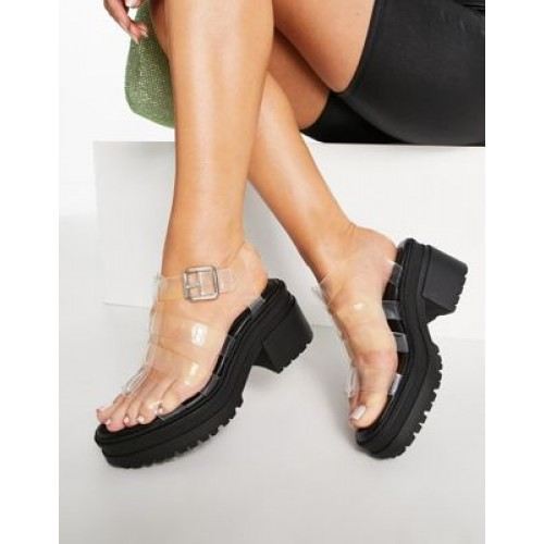 DESIGN Hugo chunky mid heel sandals in clear Casual For Sale TDSM651