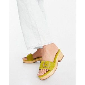 DESIGN Hyde premium suede platform mid sandals in chartreuse For Narrow Feet for Women SHEH296