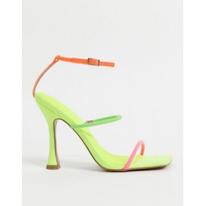 DESIGN Negotiate barely there diamante high-heeled sandals in neon Comfortable Walking for Women new look IKGQ293