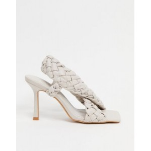 DESIGN Nock woven cross strap heeled sandals in off white Selling Well KIFD354