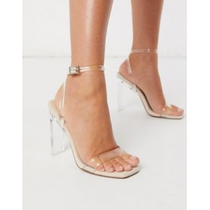 DESIGN Norton clear barely there heeled sandals for Women At Target KUYX252