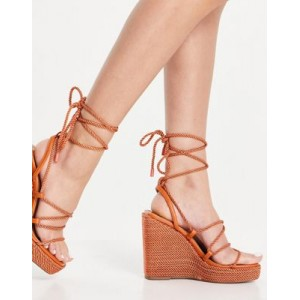 DESIGN Trace rope detail square toe wedges in terracotta FSYC353