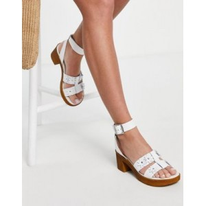 DESIGN Twist leather daisy clogs in white Cost BDAL916
