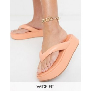 DESIGN Wide Fit Ferris chunky flip flop sandals in peach Comfortable Walking Clearance Sale AGZK346