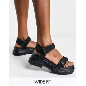 DESIGN Wide Fit Fly By chunky sporty sandals in black for Women on sale near me BIXI987