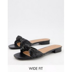 DESIGN Wide Fit Freddie knotted mule sandals in black Size 9 for Women's WAWP372