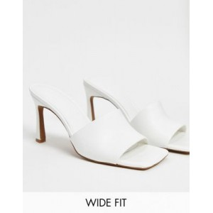 DESIGN Wide Fit Hattie mid-heeled mule sandals in white Size 13 for Young Women In Sale LCFA124