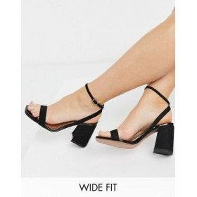 DESIGN Wide Fit Hudson barely there block heeled sandals in black Large Size for Young Women PPPZ291