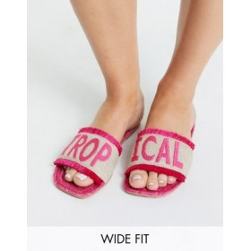 DESIGN Wide Fit Jelly slogan espadrille mules in bright pink Size 9 The Most Popular XAPF903