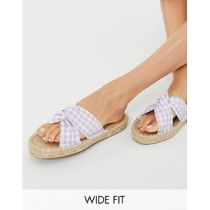 DESIGN Wide Fit Jolly knotted mule espadrille in lilac gingham for Women XLER176