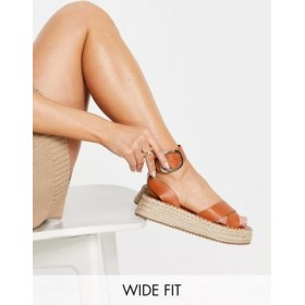 DESIGN Wide Fit Justice flatform espadrille sandals in tan for Young Women sale next CZMB314