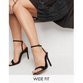 DESIGN Wide Fit Nala minimalist heeled sandals in black Extra Wide Width for Women Boutique PUCC842