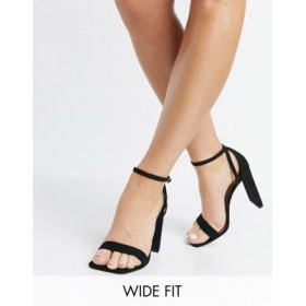 DESIGN Wide Fit Noelle barely there block heeled sandals in black Size 8 Wide for Women The Top Selling PGLW800