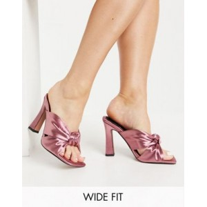 DESIGN Wide Fit Norbiton satin twist mules in mauve on style AHYS645