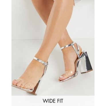 DESIGN Wide Fit Watson high heeled sandals in silver For Narrow Feet sale online PNGH683
