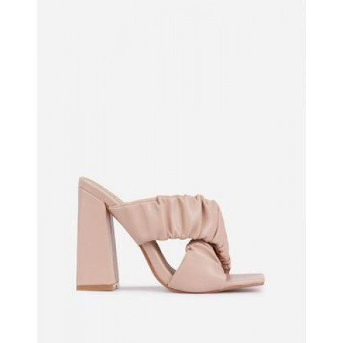 Ego x Molly-Mae Larchmont ruched block heeled mules in beige Casual for Women high quality NNYE517